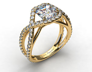 18K Yellow Gold Engagement Ring with Braided Pave Overlay